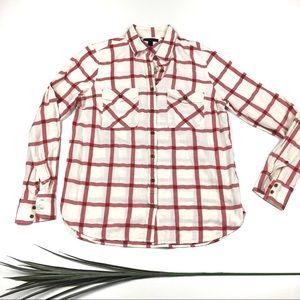 J. Crew White and Red Plaid Shirt
